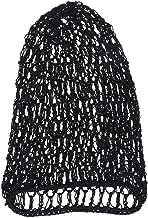 LUOEM Women Hair Net for Sleeping Crochet Hairnet Sleep Cap Snood Cover Rayon Net (Black)