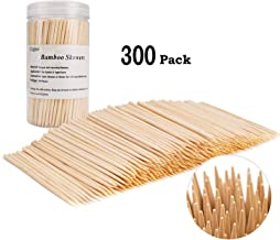 Bamboo Skewers Natural Bamboo Sticks for Appetizers, Cocktails, Fruits, Vegetables, Cheese, Fondue, Kabobs (4 inch -300pcs)