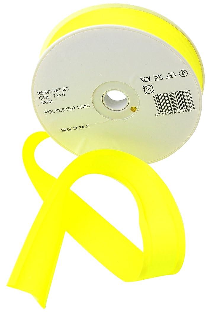 Inastri 25/ 5/ 5 mm Polyester Satin Bias Binding, Fluorescent Yellow 7115