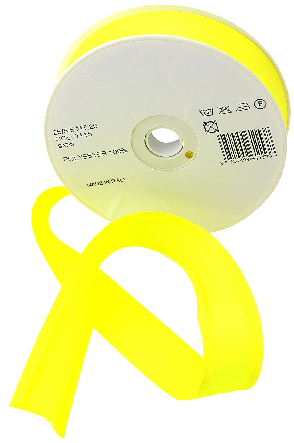 Inastri 25/ 5/ 5 mm Polyester Satin Bias Binding, Fluorescent Yellow 7115
