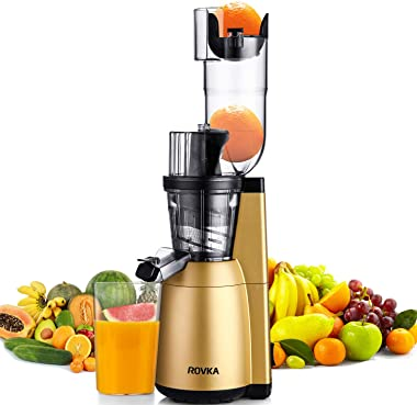 Slow Masticating Juicer, ROVKA High Nutrient and Vitamins Juice Extractor, 3.15 Inches Wide Chute Cold Press Juicer for Veget