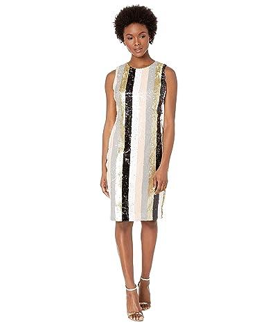 Calvin Klein Striped Sequin Sheath (Multi Stripe) Women
