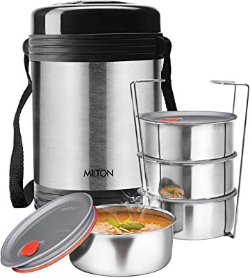 Milton Legend Deluxe 4 Thermosteel Tiffin Box, (4 Containers) 200 ml, Silver