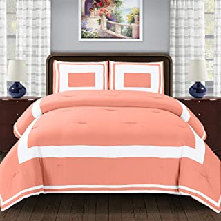 Superior Grammercy Color Blocked Comforter Set with Pillow Sham, Luxury Hotel Bedding with Soft Microfiber Shell, All Seas...