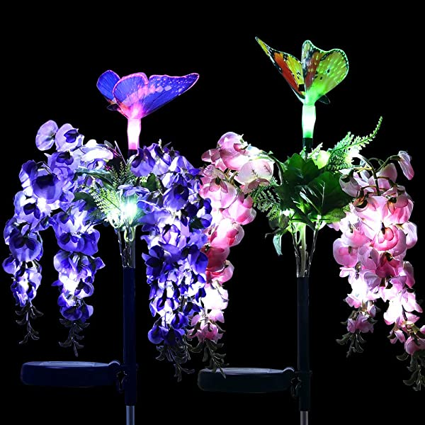 Solarmks Outdoor Decorative Garden Solar Lights Solar Powered Flower Lights With Multi Color Changing LED Stake Solar Butterfly Lights For Garden Patio Backyard Path Lawn 2 Packs