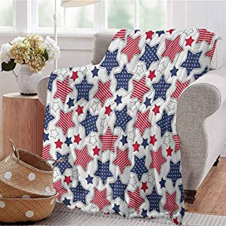 Silky Soft Plush Blanket,USABig Star Figures with American Flag Featured Inner Lines Proud Country Design,Super Soft Plush Blanket Throw Indigo Red White 40