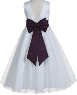 V-Back Lace Edge Ivory Flower Girl Dress Baptism Dresses Communion Dress Recital Dress 183T