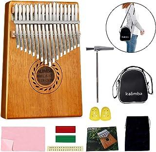 Kalimba - Piano para pulgar de 17 teclas, de caoba de alta calidad con kit de estudio y bolsa portátil de martillo de afinación