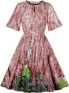Ez-sofei Women's Vintage 1940s Keyhole Front Irregular Floral Print Swing Party Dress