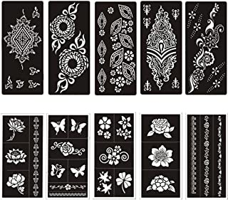 Temporary Tattoo Stencils Templates Stickers Waterproof Adhesive Body Art Painting for Temporary Indian Henna Tattoo Cone(10 Sheets)