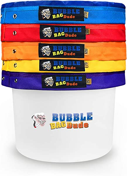BUBBLEBAGDUDE Bubble Bags 5 Gallon 5 Bag Set Herbal Ice Essence Extraction Bag Kit With 10 X 10 25 Micron Pressing Screen And Storage Bag