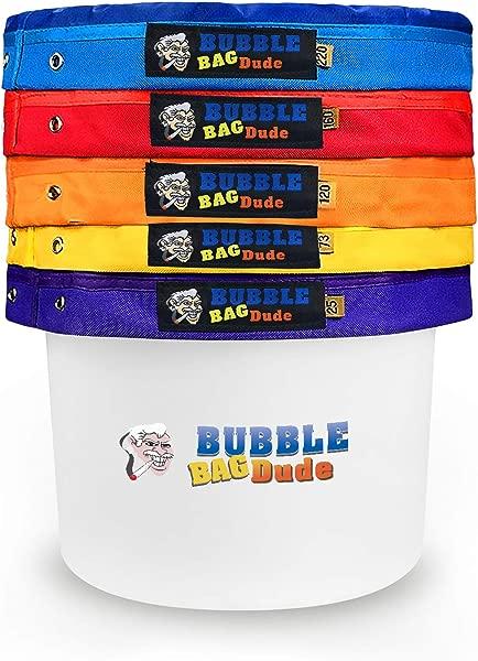 BUBBLEBAGDUDE 气泡袋 5 加仑 5 袋套装草药冰精提取袋套装 10X10 25 微米按压屏幕和收纳袋
