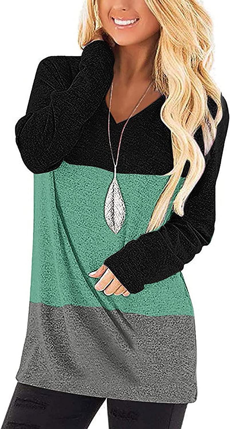 Women's Pullover Long Sleeve Color Block Tunic Tops Comfy Stripe Round Neck T Shirt Tops Casual Sweatshirts Top Blouse