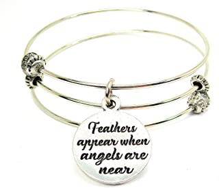 Chubby Chico Charms Feathers Appear When Angels Are Near Expandable Wire Triple Style Bangle Bracelet, 2.5
