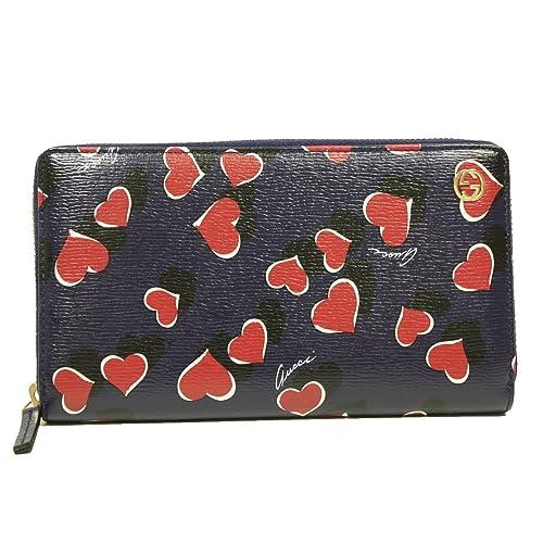 3248dd9dcae3 Gucci Heartbeat Interlocking GG Logo Navy Leather Zip Around Wallet 309705