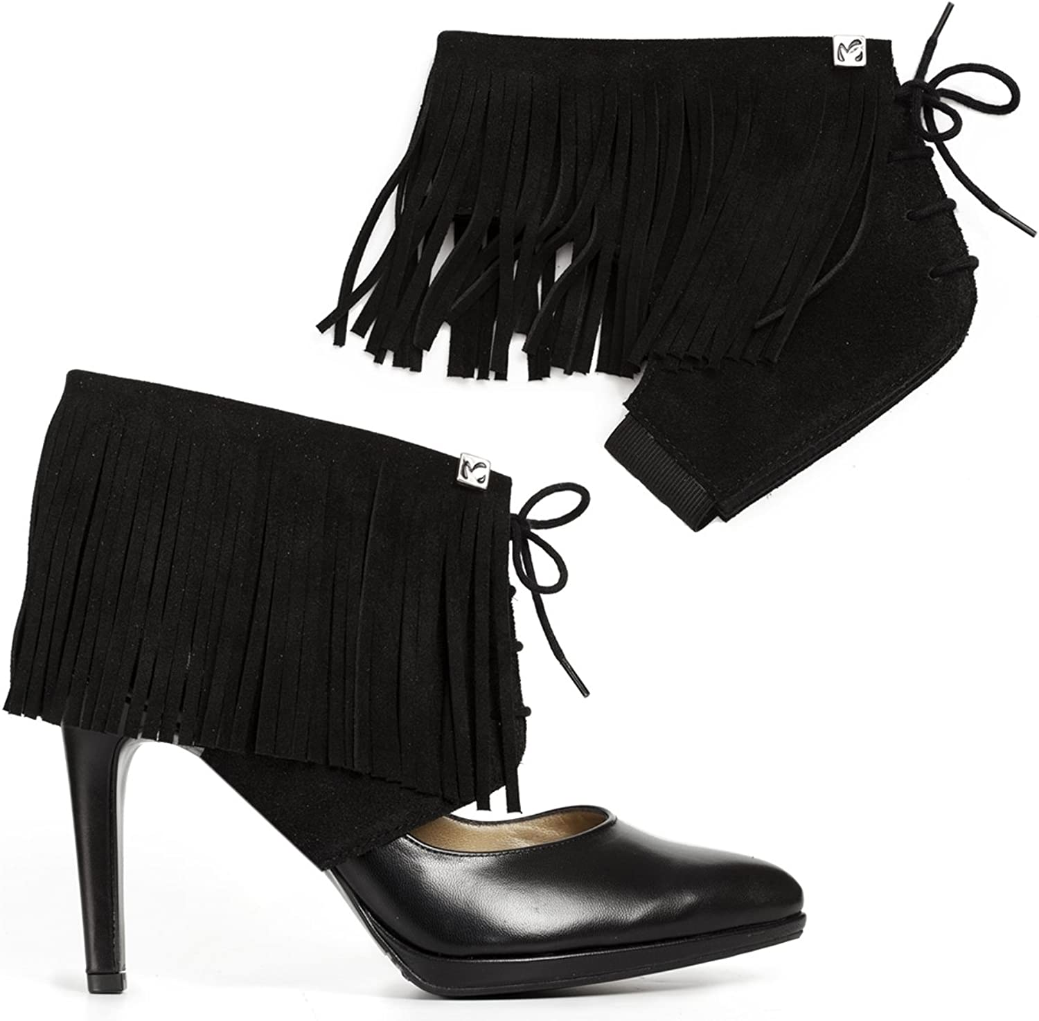 Molinis Fringe shoes Accessories Transform Your Pumps Into Ankle Boots and Walk Comfortable in Heels. Suede Leather, (Size S,M,L, Available in More colors)