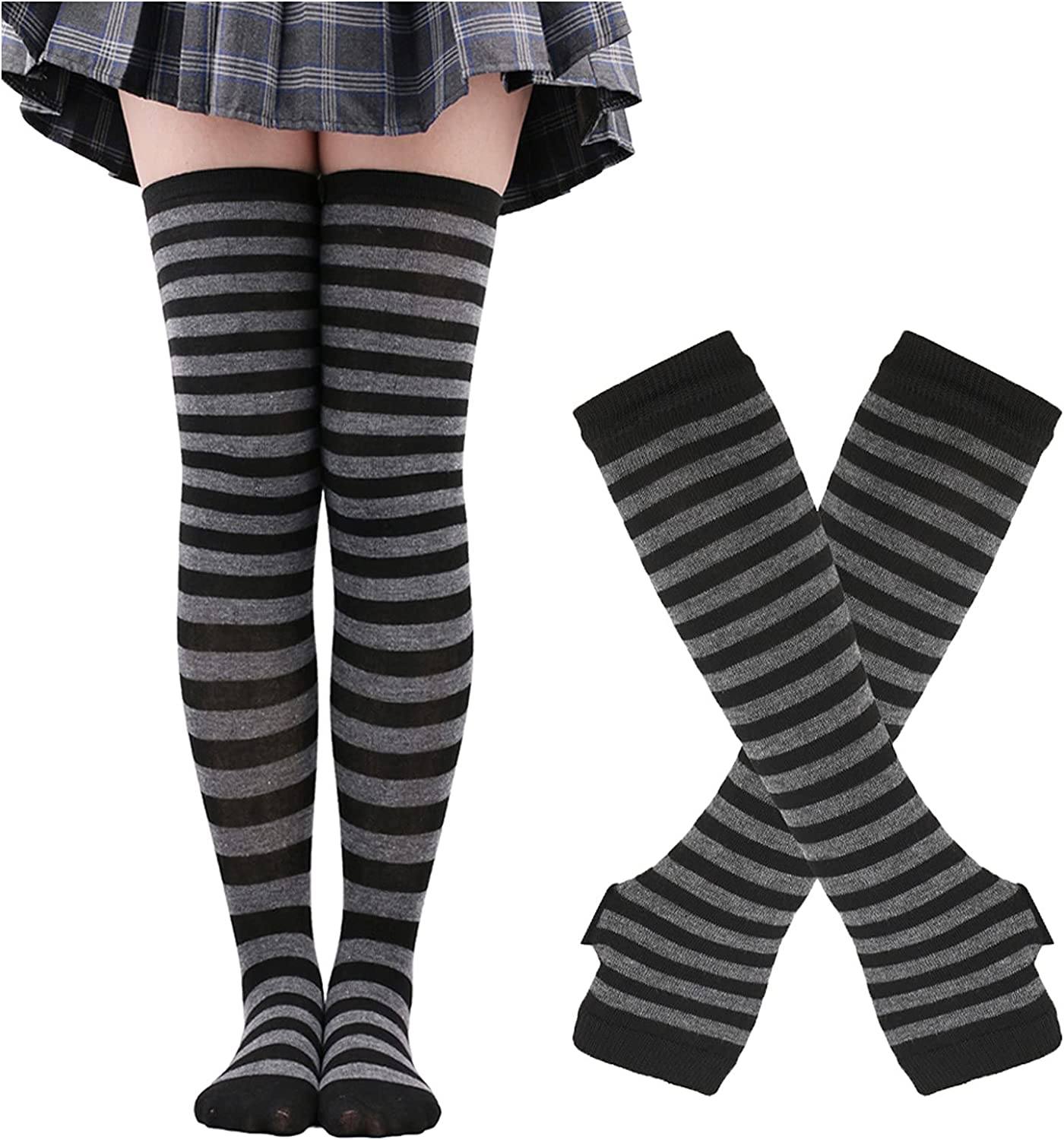 Womens Over Knee Long Socks Striped Thigh High Sock Halloween Cosplay Stocking Vintage Winter Warm Socks with Gloves