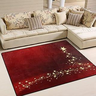 Tapis 63x48 Pouces de Noël Gold Star Red pour Le Salon Chambre