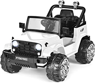 Costzon Ride on Jeep, 12V Battery Powered Ride on Truck w/ Parental Remote Control & Manual Modes, Twin Motors, Music, Horn, Lights,MP3, Volume Control Functions, Kids Electric Vehicle (White)