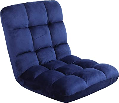 FLOGUOR Portable Super Soft Floor Chair 14-Position Removable Thick Couch Lounger Transformable Folding Fabric Lazy Sofa Soft Padded Gaming Chair for Reading Gaming TV Watching (Blue) 8809BL