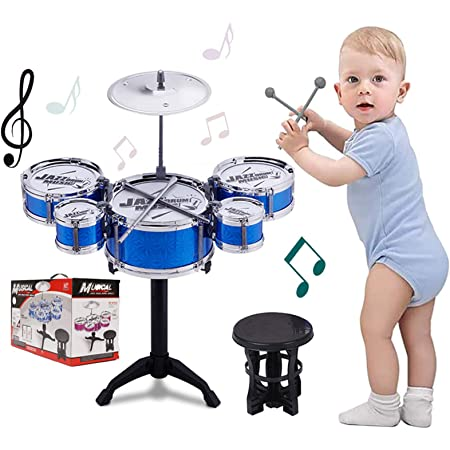 Dowager 12-Piece Childrens Jazz Drum Set,6 Drums Cymbal Computer Chair Kick Pedal for Kids//Junior Drum Set with Adjustable Throne Cymbal Pedal Drumsticks to Stimulating Children/'s Creativity US Stock