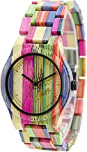 Bewell Handmade Colorful Bamboo Wood Watch Analog Quartz Fashion Wristwatch with Mix Colors