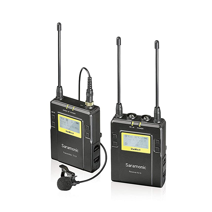 Saramonic UwMic9 96-Channel Digital UHF Wireless Lavalier Microphone System Omnidirectional Clip on Lapel Mic for Nikon Canon Sony Panasonic DSLR Cameras, for Video,Field Recording,Interview,ENG,TV
