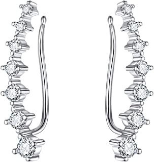 MengPa Ear Cuffs Climber Earring for Women Silver Plated Crystal Jewelry