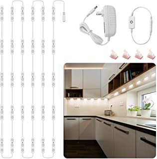 Flexible Led Under Cabinet Lighting Kit, 14FT Adhesive LED Strips Closet Lights with Power Adapter, Dimmable Bright White ...