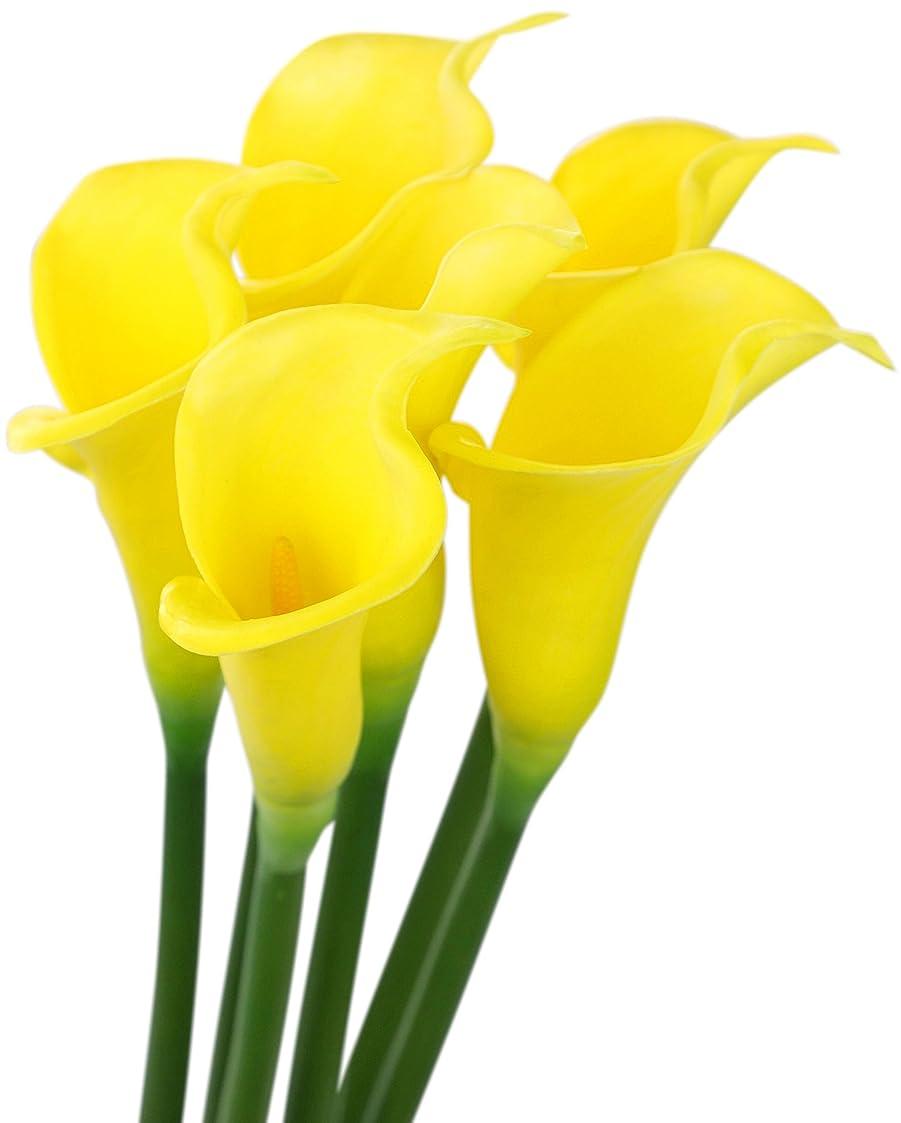 に賛成電話契約するFiveSeasonStuff 6本 イエロー オランダカイウ 長い茎 造花 インテリア 人工の花 パーティー 結婚式 装飾 DIY 64cm