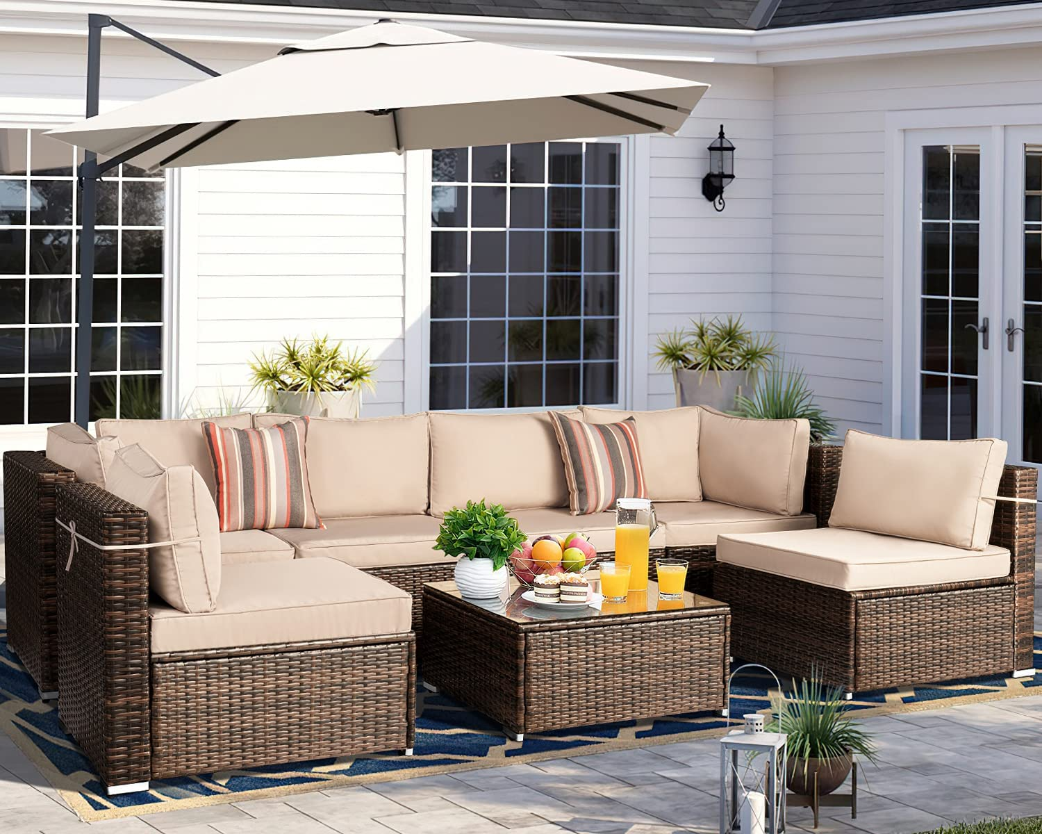 outlet price Aoxun 7 Piece Patio Furniture Sets S Rattan Sectional Outdoor PE