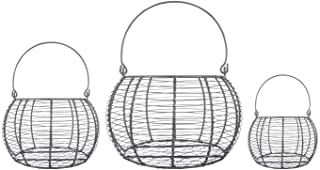DII Rustic Farmhouse Egg Baskets, Metal Storage Baskets, Kitchen and Home Décor, Food Safe, Round, Assorted Sizes, Set of ...