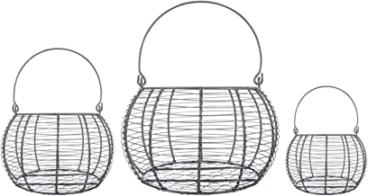 DII Rustic Farmhouse Egg Baskets, Metal Storage Baskets, Kitchen and Home Décor, Food Safe, Round, Assorted Sizes, Set of 3, Vintage Chic Decor