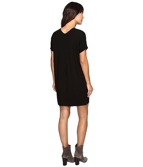 P cuello negro con Jersey en vestido corta Lilla Stretch v manga dYvqWZw