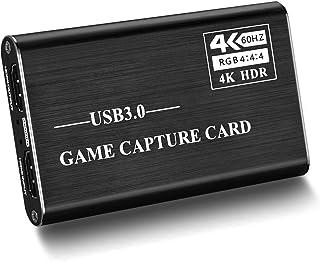 Mixsun キャプチャーボード 4K HDMI USB3.0 ビデオキャプチャカード ゲームキャプチャデバイス USB3.0 1080P 60FPS HD 画質 ゲーム実況・録画・配信 ライブ会議用 Windows / Linux / Mac...