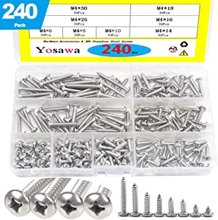 Yosawa 240-Piece #8 Stainless Steel Phillips Pan Head Tapping Self-Tapping Screws Set -ZGM4