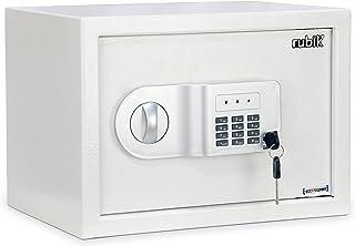 Rubik Safe Box A4 Document Size Locker Security Safety Deposit With Key and Keyless Entry RB25AJ (35x25x25cm) White