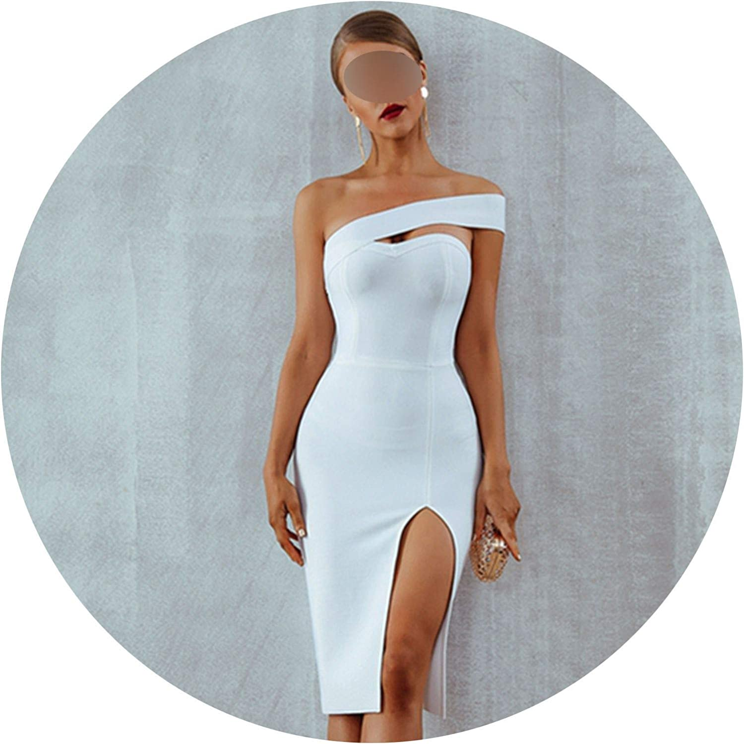 Be fearless 2019 Summer Sexy Elegant White Black One Shoulder Midi Celebrity Party Dresses