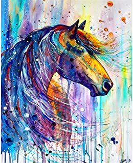 Horse,12X16 inches DIY 5D Diamond Painting Kits for Adults Full Drill Horse Diamond Paintings Crystal Rhinestone Embroidery Pictures Animal Arts Crafts for Living Room Home Wall Decor Gifts