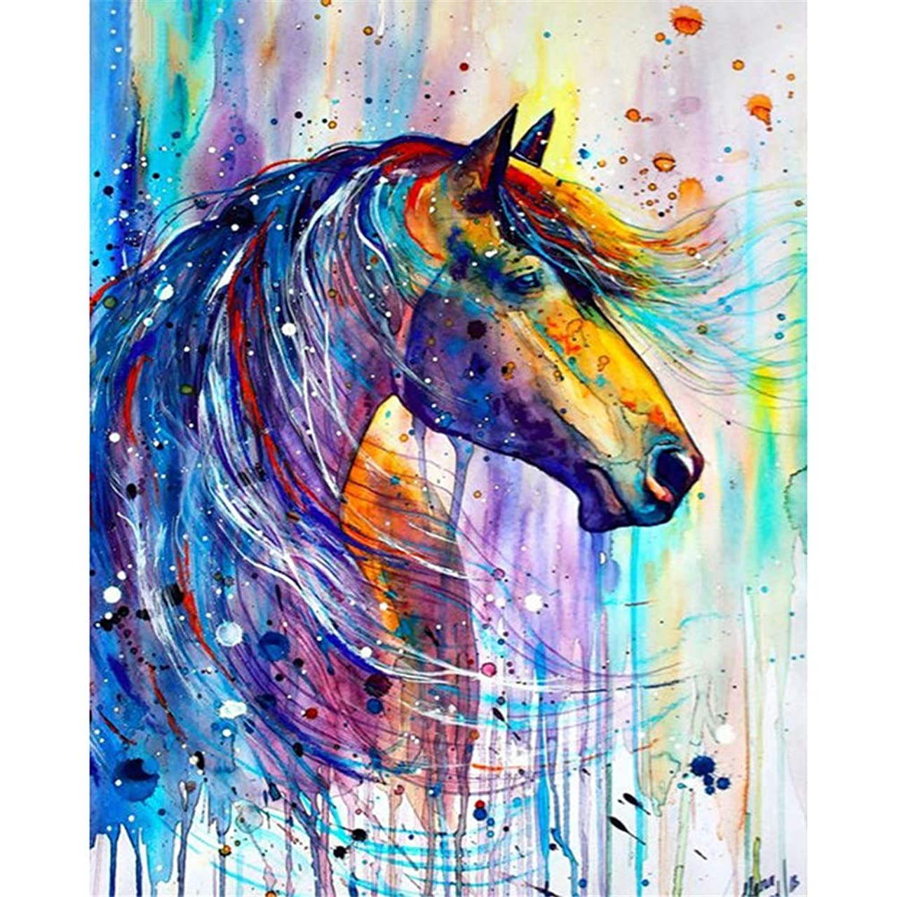 5D Full Drill Diamond Painting Kit, KISSBUTY DIY Diamond Rhinestone Painting Kits for Adults and Beginner Embroidery Arts Craft Home Decor, 15.8 X 11.8 Inch (Horse Diamond Painting 2)