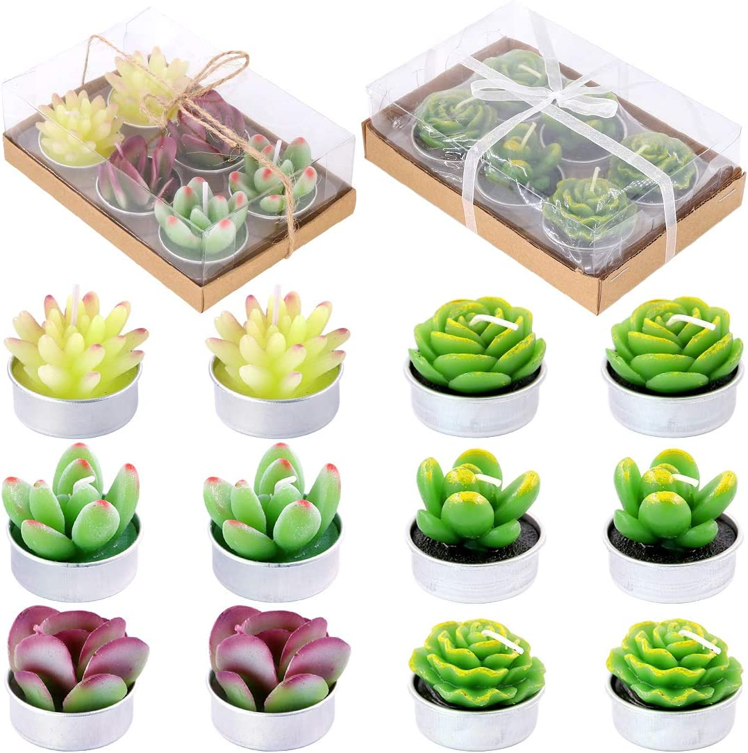 Glarks 12Pcs a Pack Don't miss the campaign Artificial Handmade Cactu Succulents Candles trend rank