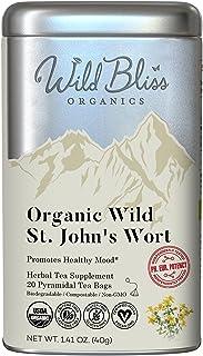 Wild Bliss St Johns Wort Tea - Organic Caffeine Free Herbal Tisane – Pharmacopoeia Grade Potency - 20 Tea Bags