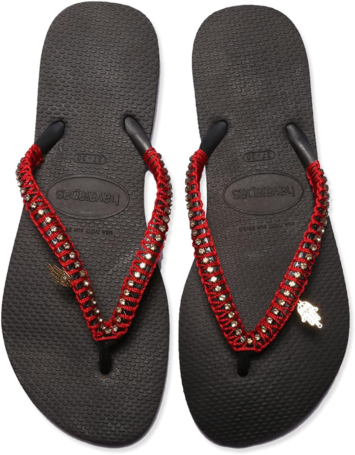 Havaians Women Black and red Hand Made Flip Flop Braded Beach Sandals