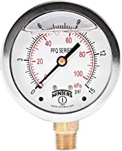 Winters PFQ Series Stainless Steel 304 Dual Scale Liquid Filled Pressure Gauge with Brass Internals, 0-15 psi/kpa,2-1/2