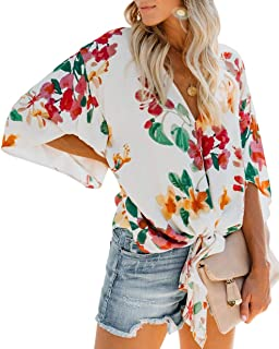 CICIDES Womens Floral Printed Short Sleeve Deep V Neck Tie Front Flare Tops Chiffon Blouses(S-XXL)