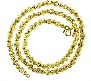 Bangkok Bazaar Gorgeous Diamond-Cut Beads Chain Baht Jewelry 24k Gold Plated 18