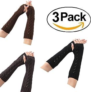 Sungpunet Women Lady Girl Long Soft Fingerless Knit Thumb Hole Gloves Mittens