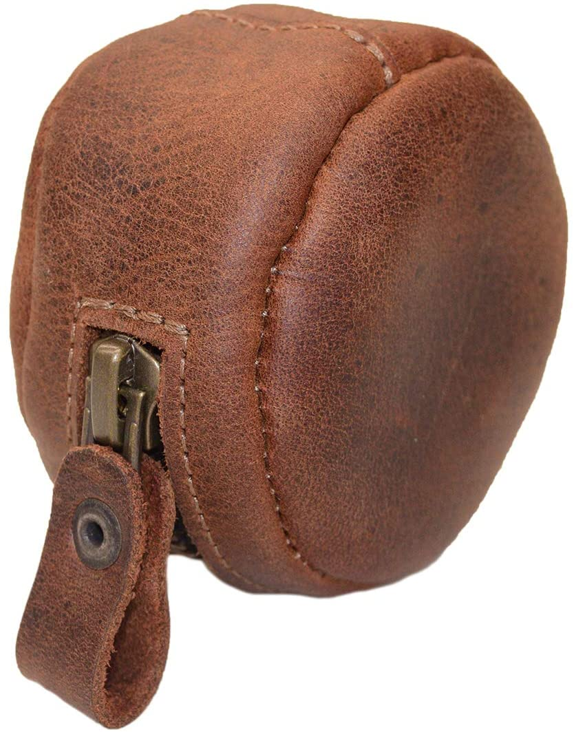 Hide & Drink, Leather Rounded Coin Case, Organizer Pouch, Carry Bag, Portable Charging Cable Holder, Wallet, Travel & Commuter Accessories, Handmade Includes 101 Year Warranty :: Bourbon Brown