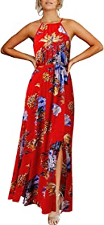 Women's Halter Floral Print Party Dresses Side Split Beach Maxi Dress