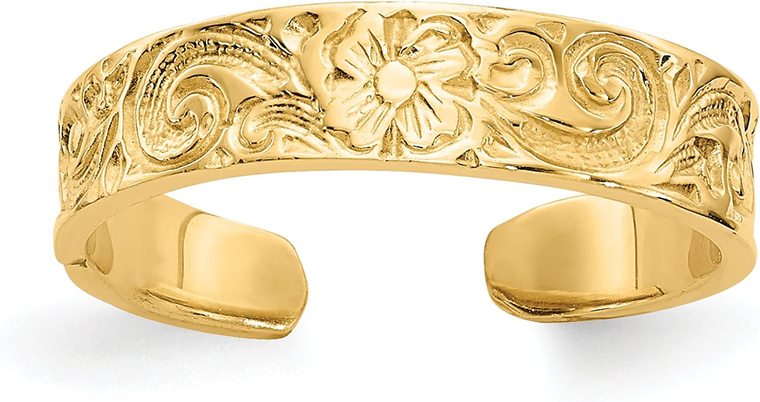 14k Yellow Gold Solid Flower/Scroll Toe Ring